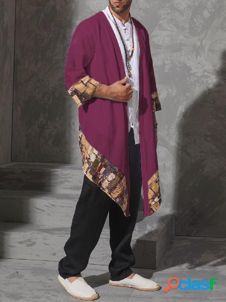 Manto de algodão vintage masculino com estampa irregular cardigã