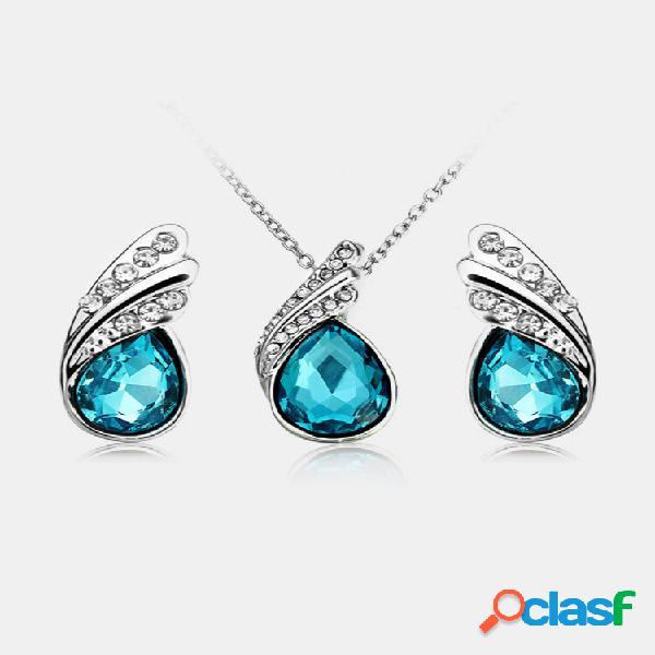 Colar de água pingente de cristal conjunto de jóias brincos