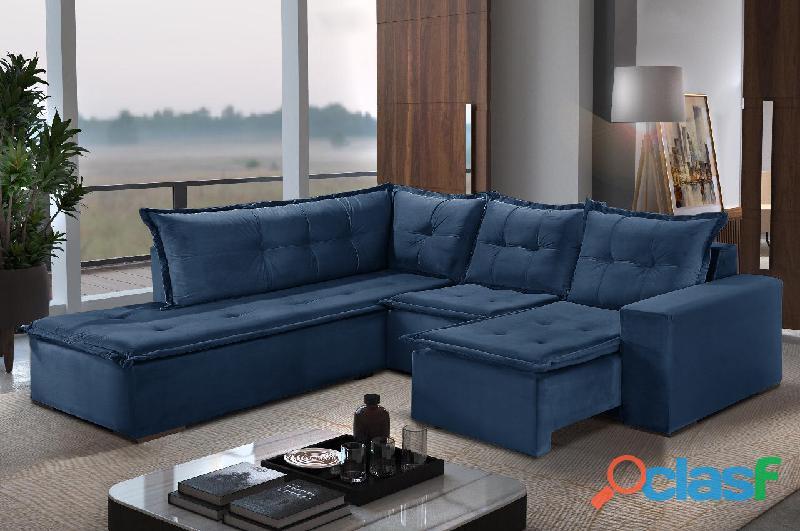 Lindo sofá canto denver retrátil luxo apenas r$ 1849,90 diversas cores entrega rápida