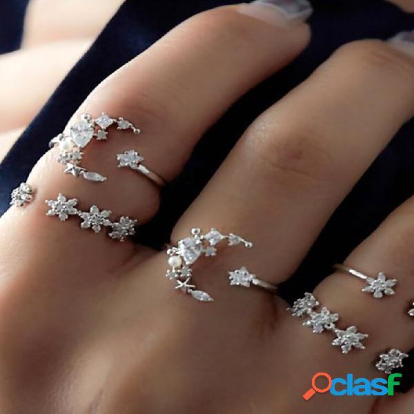 Conjuntos de anéis de moda de 5 unidades anel de dedo boêmio anel simples estrela da lua strass anéis para mulheres