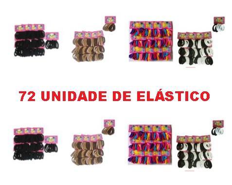 Kit com 72 elásticos de cabelo