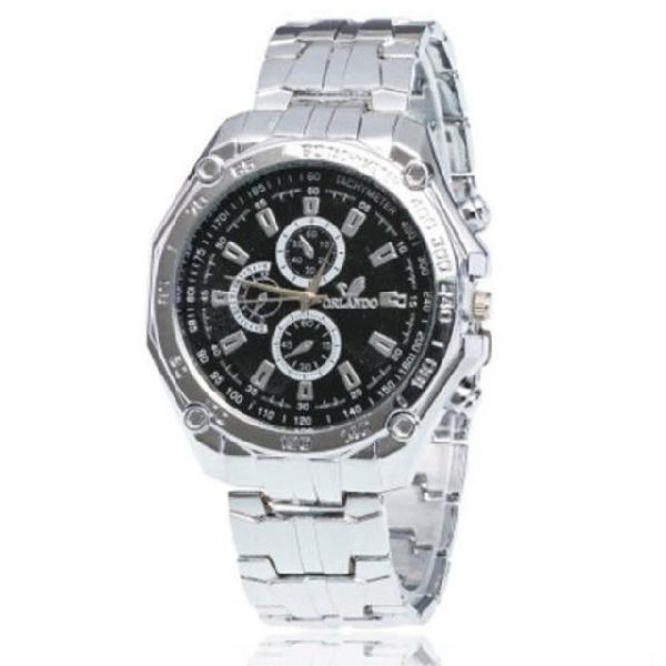 Relógio de pulso masculino quartzo aço inoxidável prata