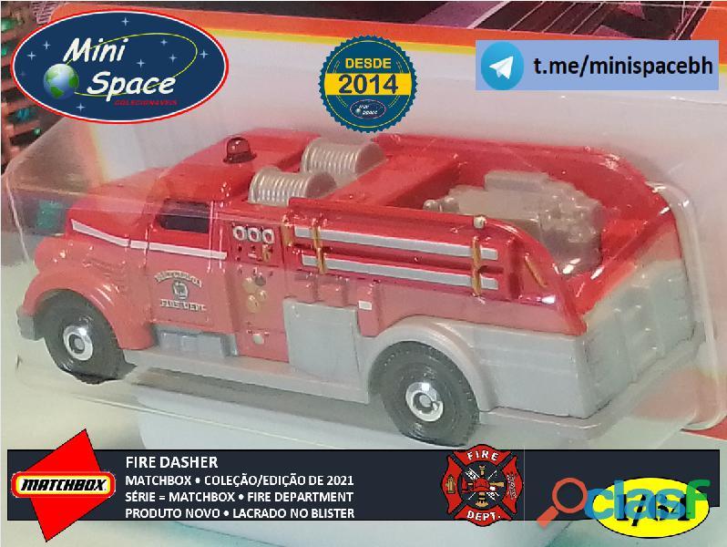 Matchbox Fire Dasher Bombeiro cor Vermelho 1/64 1