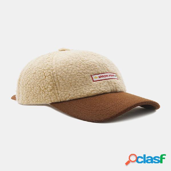 Bordado de lã feminino e masculino padrão engrossar soft térmica de inverno quente chapéu beisebol chapéu
