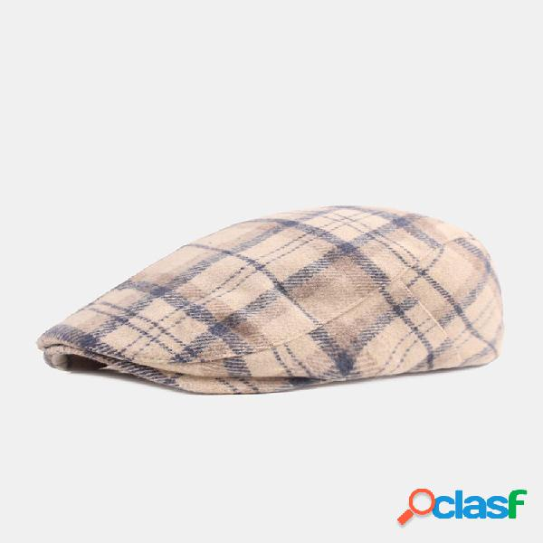 Malha de algodão masculino padrão engrossar calor casual frente chapéu boina boné plano