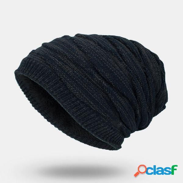 Masculino inverno plus veludo liso cor listrado padrão gorro quente de malha exterior chapéu