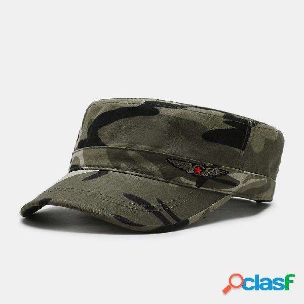 Masculino algodão sólido camo star eagle padrão protetor solar all-match bordado militar chapéu boné plano