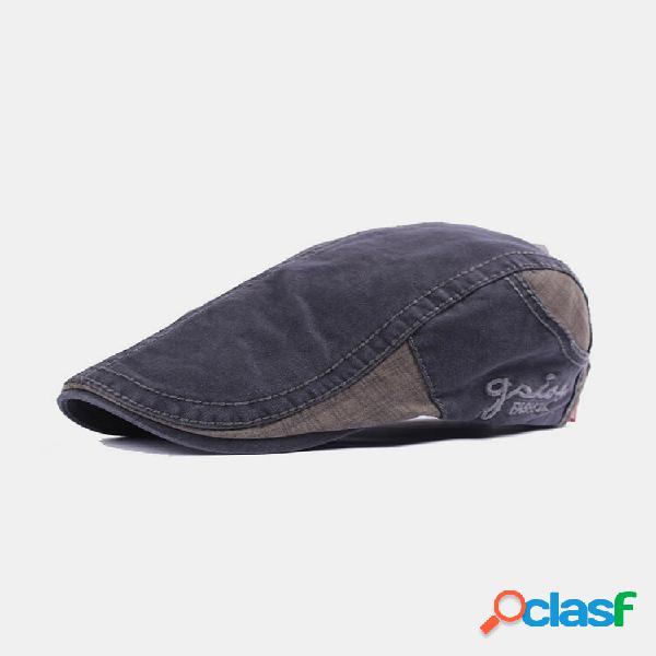 Carta de bordado masculino padrão cor patchwork ajustável casual plano chapéu frente chapéu boina chapéu