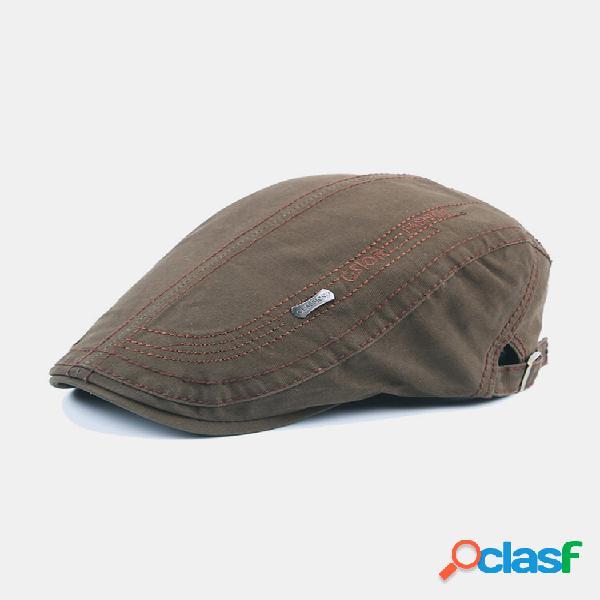 Carta de bordado masculino padrão ajustável casual plano chapéu frente chapéu boina chapéu