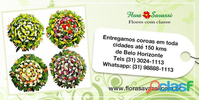 Coroa de flores em minas gerais, floricultura entrega coroas diversas cidades mg tel 31 3281 1113