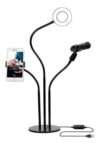 Suporte para celular e microfone ring light mesa live