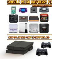Console Retrô Mini PS4 RetroPie 25.000 Jogos + 2 Controles