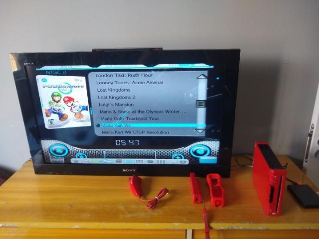 Nintendo wii vermelho completo (modelo europeu) + hd 1tb com