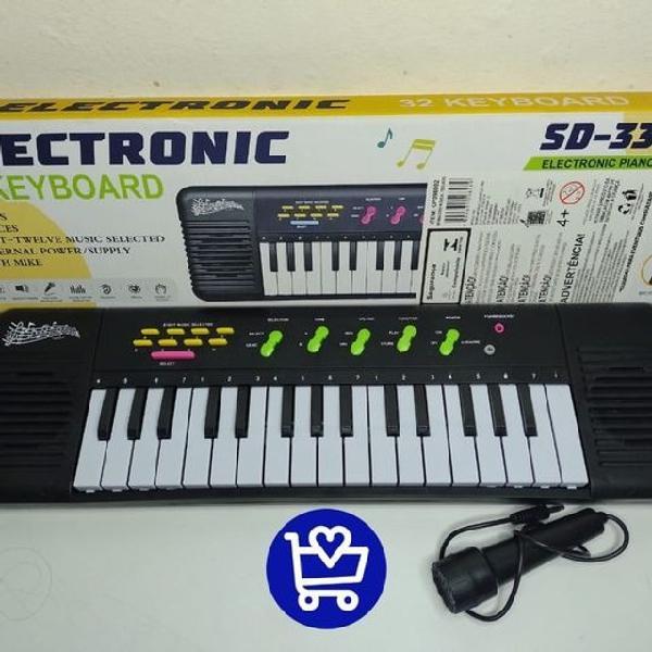 Teclado piano brinquedo musical karaoke microfone