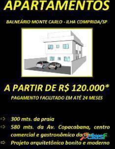 Apartamentos 2dorm. r$120mil à 150m da praia di franco, ilha comprida, sp