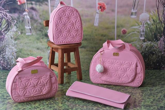 Bolsa maternidade kit rosa - 4 peças