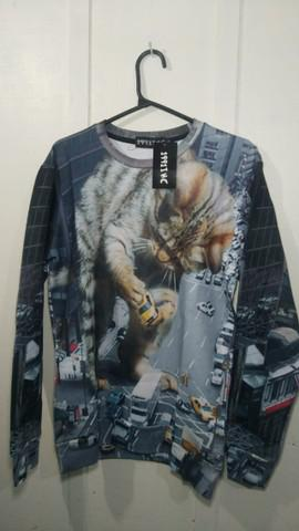 Camiseta/blusa de gato manga comprida tamanho g