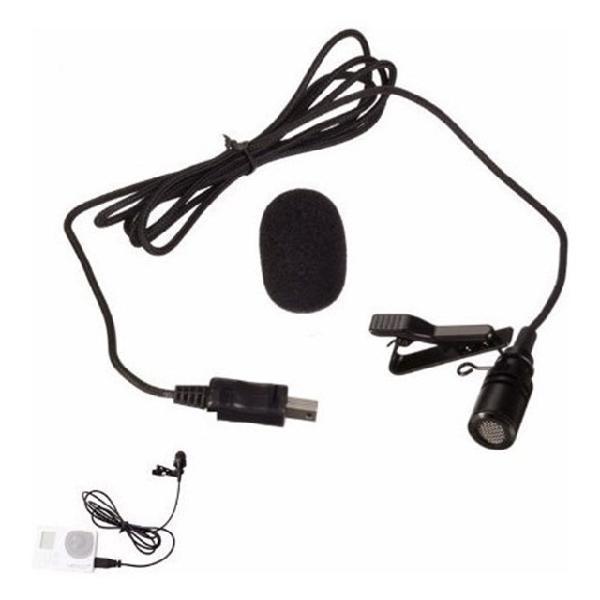 Microfone lapela gopro hero 3 3+ 4 mini usb profissional