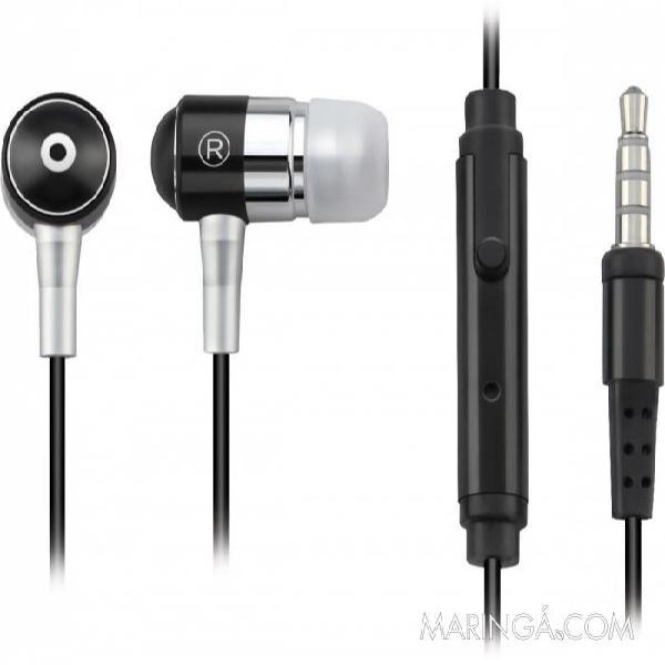 Fone de ouvido com microfone p2 ph059 preto - p2 3.5 mm