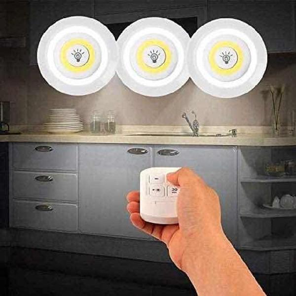 Kit 3 lâmpadas luminária led controle sem fio spot remoto