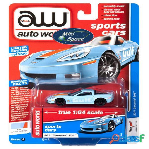 Auto World 2011 Corvette Z06 azul Gulf Oil Racer 1/64 1