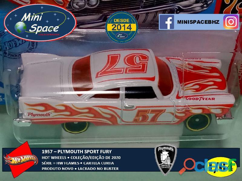 Hot Wheels 1957 Plymouth Fury Flames cor branco 1/64 2
