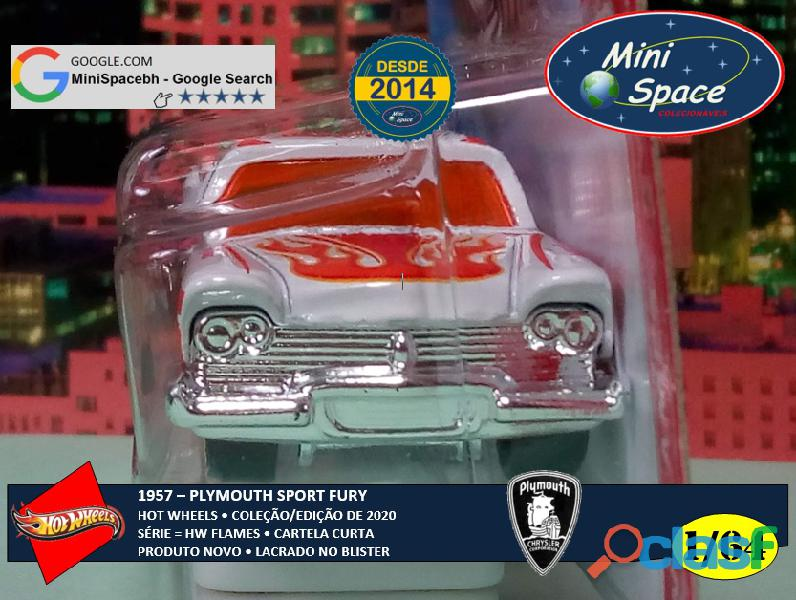 Hot Wheels 1957 Plymouth Fury Flames cor branco 1/64 3