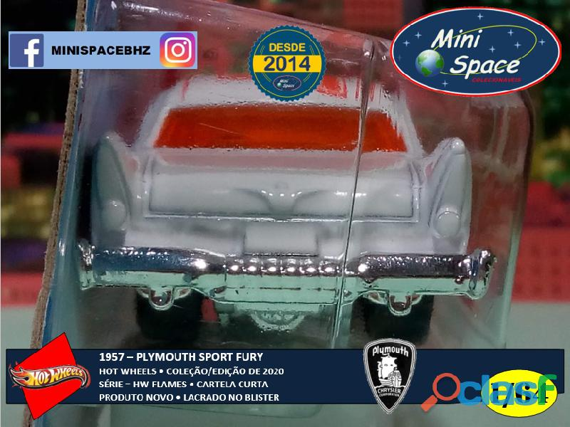 Hot Wheels 1957 Plymouth Fury Flames cor branco 1/64 5