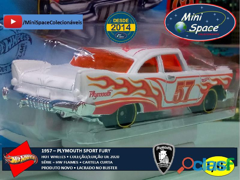 Hot Wheels 1957 Plymouth Fury Flames cor branco 1/64 7