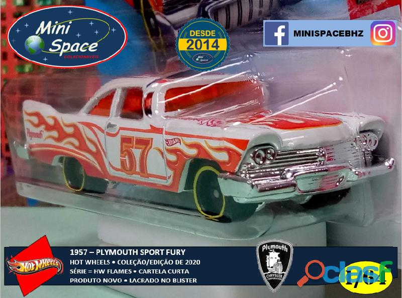 Hot Wheels 1957 Plymouth Fury Flames cor branco 1/64 8