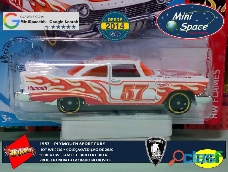 Hot Wheels 1957 Plymouth Fury Flames cor branco 1/64 9