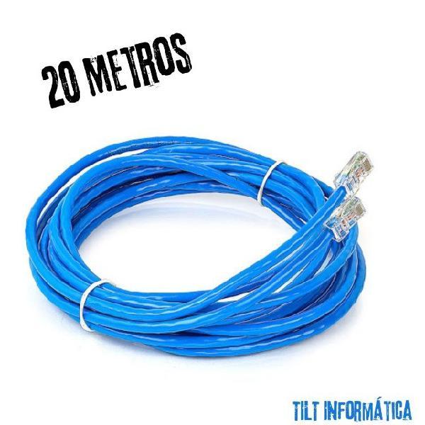 Cabo de rede//internet cat5 rj45 pronto p// uso 20 metros
