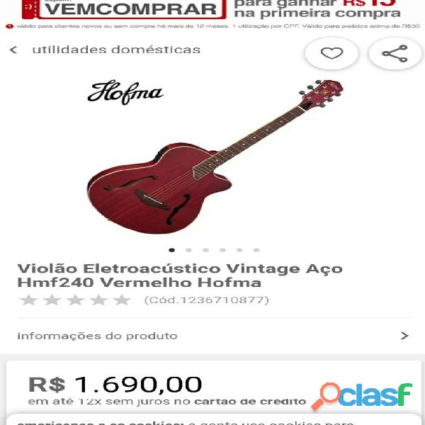 Violão vintage rústico   TROCO BIKE Hofma HMF24 4