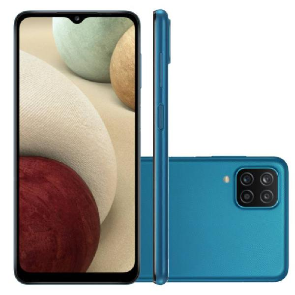 """Smartphone Samsung Galaxy A12 Azul 64 GB 6.5"""" 4 GB RAM Câm."""