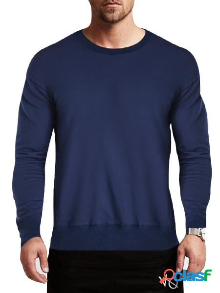 Modchok masculino outono casual sólido manga longa gola redondo blusa camiseta pulôver