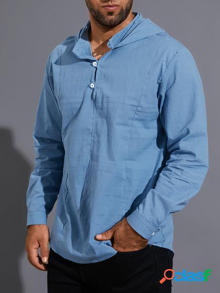 Homens outono casual com capuz simples botão frontal manga longa camisa
