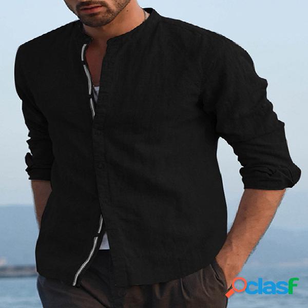Incerun homem casual algodão colarinho liso manga longa camisa