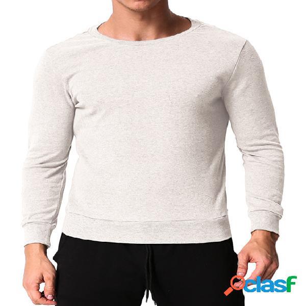 Incerun masculino moda lazer fit pulôver manga longa camiseta decote