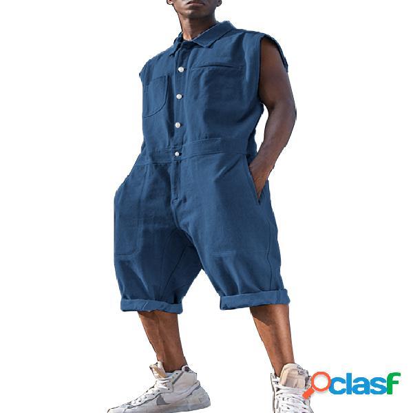 Macacão masculino verão casual com botão liso frontal com vários bolsos macacão jeans fashion sem mangas