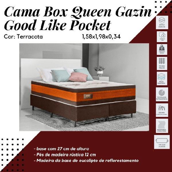 Cama box colchão gazin mola good like (molas ensacada) bege