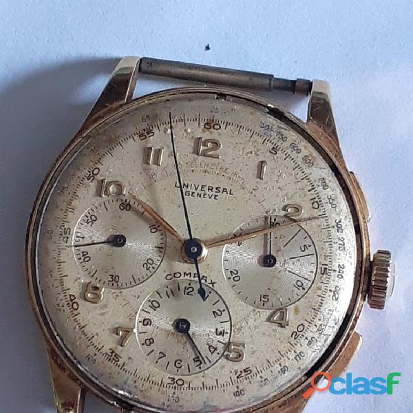 Rélogio marca universal ouro cronografo manual