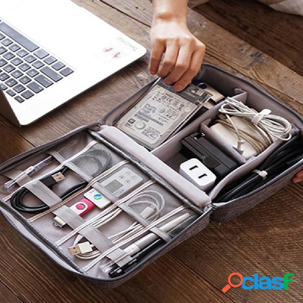 Armazenamento de cabo de dados bolsa carregador de energia digital u disk multi-função armazenamento portátil para viage