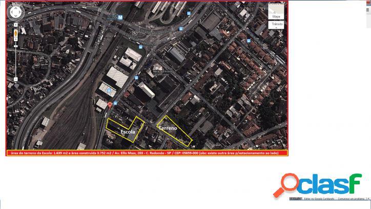Terreno de 1.639 m2 próximo metrô e prédio comercial (escola),zona sul - sp