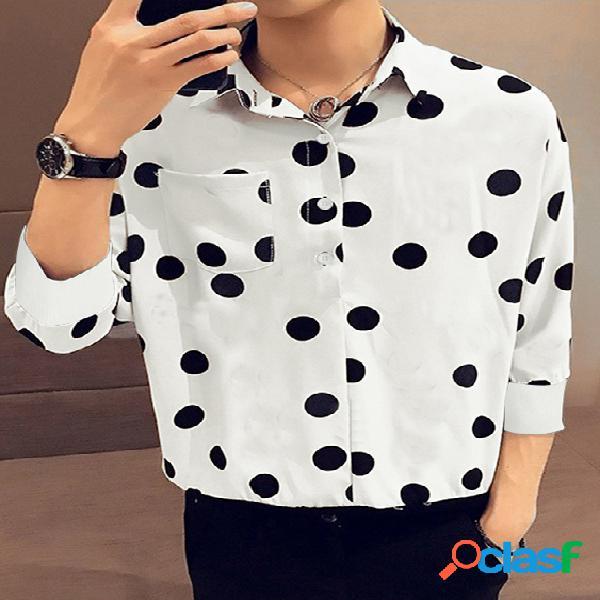 Bolso de peito impresso com bolinhas para homens henley camisa
