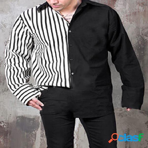 Incerun masculino retro preto branco listrado patchwork manga longa camisa