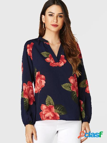 Yoins blusa de mangas compridas com estampa floral aleatória marinha com decote em v