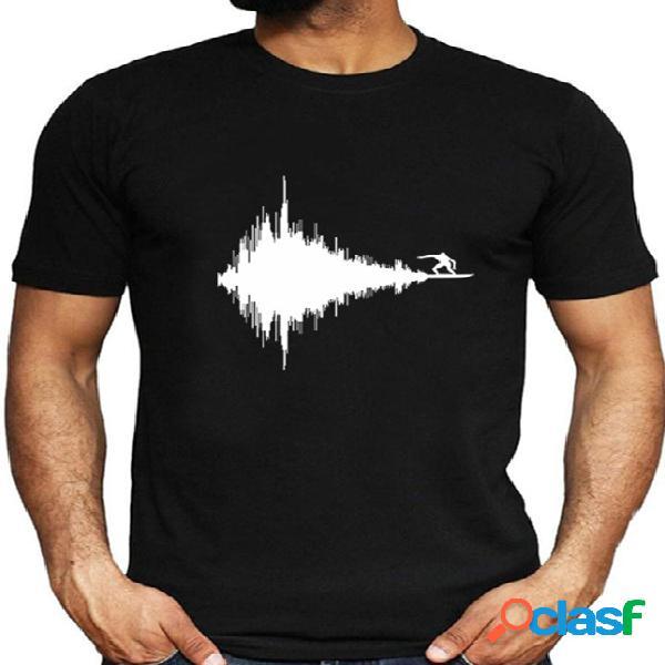 Camiseta masculina verão casual algodão soft preto criativo gráfico liso
