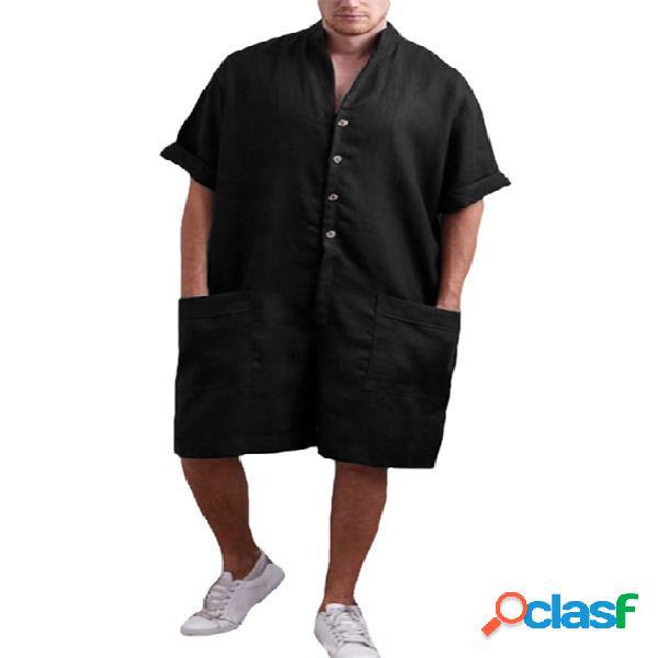 Macacão masculino gola com bolso de algodão casual camisa manga solta