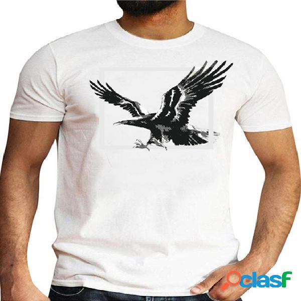 Masculino verão casual algodão soft camiseta animal gráfico simples