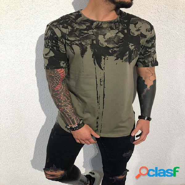 Masculino verão casual algodão soft estampa moda camiseta
